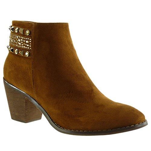 Angkorly Damen Schuhe Stiefeletten - Reitstiefel - Kavalier - Nieten - Besetzt - Schmuck - Strass Blockabsatz High Heel 7 cm Camel