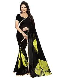 Shonaya Women Party Wear Black Colour Chiffon Lace Border Saree