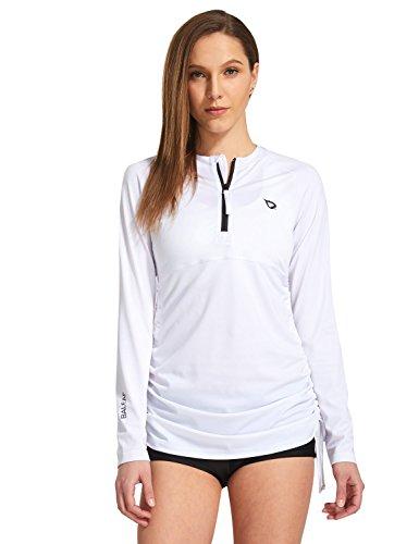 Baleaf Women's Long Sleeve Half-Zip Sun Protection Rashguard Side Adjustable Swim Shirt White Size L