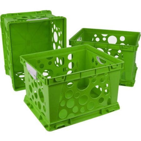 Indoor Large File Crate Storage with Handles, in Green ( 3 PACK ) by Storex (Image #2)