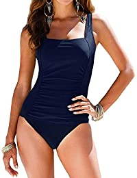 6bb30775b1a Women's Black One Piece Bathing Suit Ruched Tummy Control Swimsuit