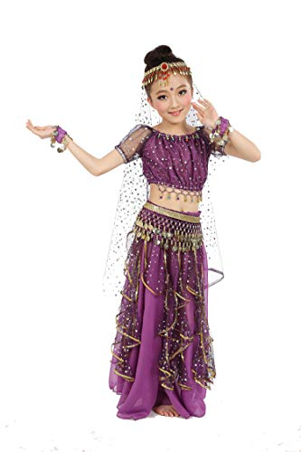 Girls Belly Dance Top Skirt Set Halloween Costume with Head Veil,Waist Chain, Purple, S(Height: 39.5in-49.2in)]()