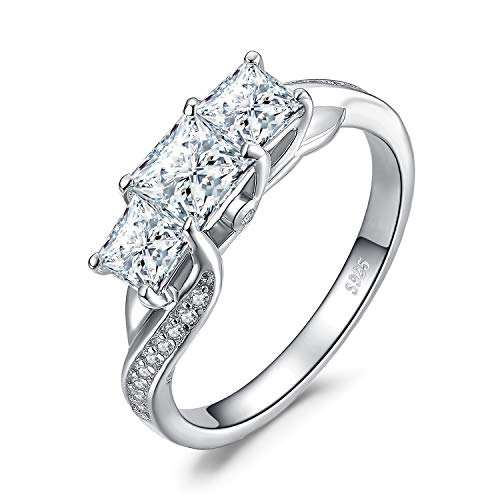 JewelryPalace Twisted CZ Pave Band 3 Stone 0.5ct Princess Cut Cubic Zirconia Promise Wedding Engagement Ring 925 Sterling Silver size 6