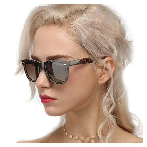 Myiaur Classic Polarized Sunglasses for Women, Anti Glare, 100% UV Protection (Classic Leopard Frame Brown Gradient ()