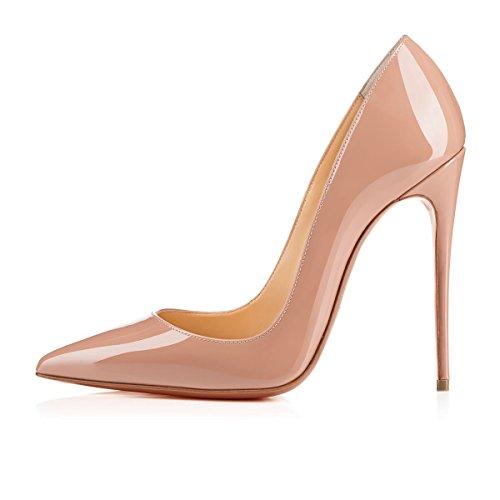 Arc-en-ciel zapatos de las mujeres del tacón alto de la bomba del dedo del pie en punta Nude