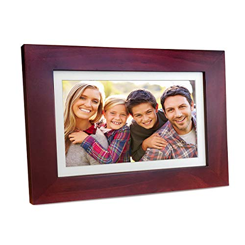 Sonicgrace 8' Widescreen Wi-Fi Cloud Digital Photo Frame with IPS Display, HD Touch Screen, Full Angle View, 10GB Free Cloud Storage, Real Wood Frame, Russet Brown