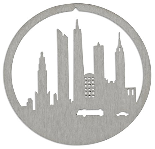 Downtown Manhattan New York City Christmas Ornament by Valerie Atkisson, Brushed Steel