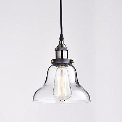 Truelite Industrial Vintage Style 1 Light Pendant Glass Hanging Light