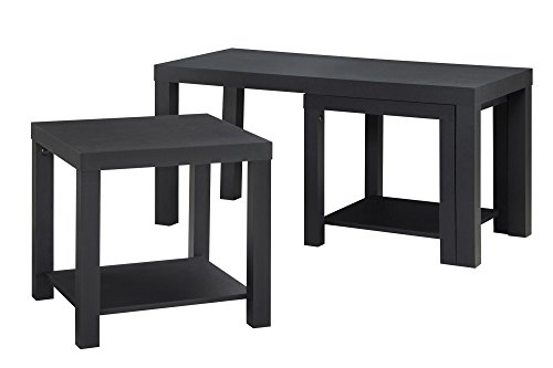 Ameriwood Home Holly Bay Coffee Table and End Table Set, Black (End Tables And Coffee Table Sets)