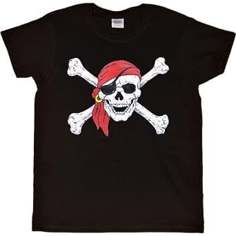 WOMENS T-SHIRT : BLACK -S- Red Bandana Pirate Skull and Crossed Bones