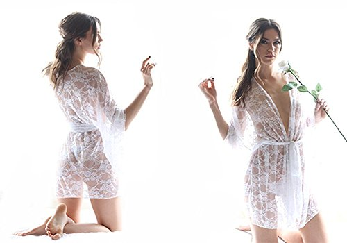 Women's Lace Kimono Robe Short - bath robe, lace robe lingerie, lace robes for women by Recherche Clothing