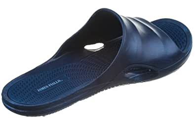 J. Fiallo Mens New Slide Beach Sandal Slippers in 3 Classy Colors (9, Navy/Navy)