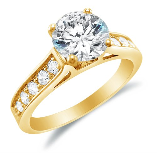 Size 8 - Solid 14k Yellow Gold Round Brilliant Cut Solitaire with Round Side Stones Highest Quality CZ Cubic Zirconia Engagement Ring (Yellow Gold Created Moissanite Solitaire)