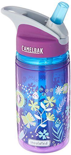 CamelBak Eddy Kids Insulated Water Bottle, Purple Flowers, 12oz