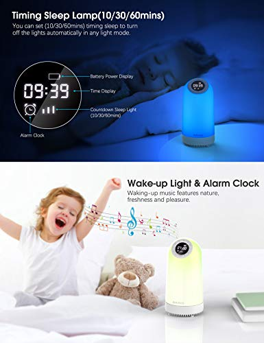 Aoboco Touch Sensor Bedside Table Lamp, Nightstand lamp with Quick Type-C Charging Port, Alarm Clock Timer, Warm Lights…