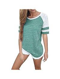 Women Stripe V Neck Long Sleeve Tops Casual Blouse T Shirt Pocket