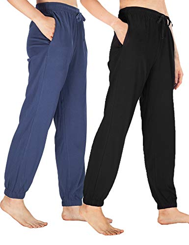 WEWINK CUKOO Womens Pajama Pants Cotton Sleep Pants Stretch Knit Lounge Pants with Pockets (XXL=US 20-22, Black+ Navy/Straight-Legged) (Stretch Lounge Pants For Women)