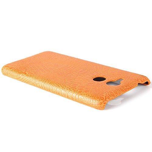 YHUISEN Patrón de piel de cocodrilo clásico de lujo [ultra delgado] de cuero de la PU Anti-rascar la cubierta de la caja dura de protección de la PC para Huawei Honor 6C / Enjoy 6S (5,0 pulgadas) ( Co Orange