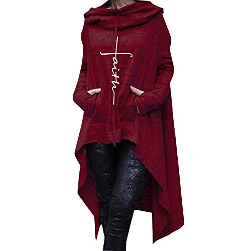- ANJUNIE Women's Maxi Tops Solid Color Turtleneck Embroidered Long Hooded Sweater Blouse(Wine,XXXL)