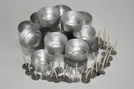Juego de 20 moldes para velas y 30 mechas TL15 enceradas (aluminio)