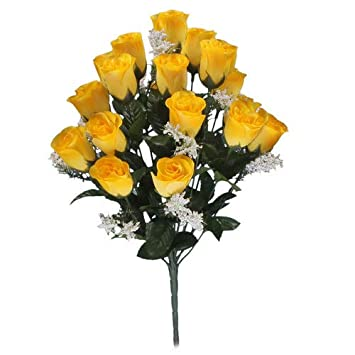 Bouton Rose Jaune Fleur Artificielle 18 Tete Mariages Tombes Amazon