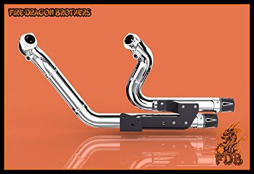 Chrome or Matte Black Dual Exhaust System Slip On Muffler Pipe with CNC Tip for 2004 2005 2006 2007 2008 2009 2010 2011 2012 2013 Harley Sportster XL883 XL1200 Iron 883 48 72 (Chrome+Tip 1) by Protek Sports (Image #4)