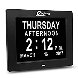 LED Large Numbers Digital Clock- Electronic Calendars Day Date Clock for Dementia- Vision Impaired Seniors- Living Room Decorative Clock