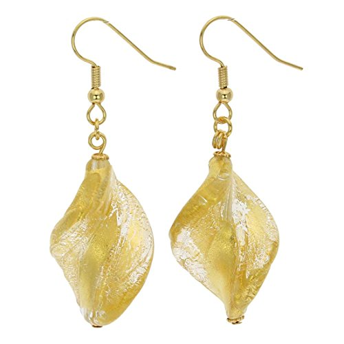 - GlassOfVenice Murano Glass Royal Gold Spiral Earrings