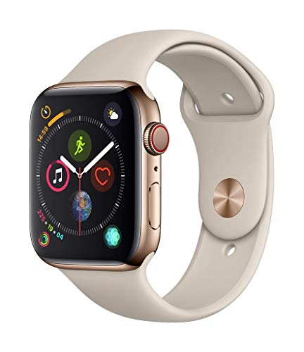 Apple Watch Series 4 (GPS + Cellular, 44mm) - Gold Stainless Steel Case with Stone Sport Band (Sports Band Watch)