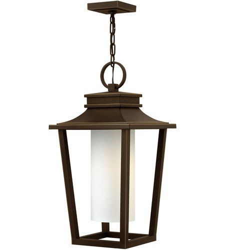 - Outdoor Pendant 1 Light with Black Etched Opal Aluminum LESM-100 12 inch 100 Watts