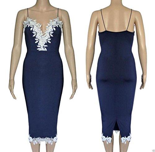 Review Fapizi SRYS Womens Bodycon V Neck Floral Lace Evening Party Ladies Long Dress (L, Blue)