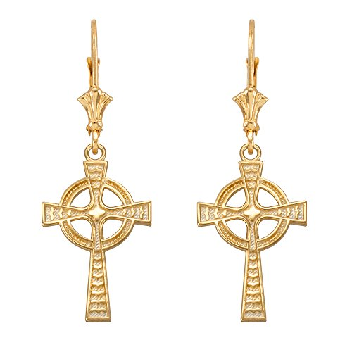 Celtic Cross Claddagh Gold (Celtic Cross Leverback Dangle Earrings 14k Yellow Gold)