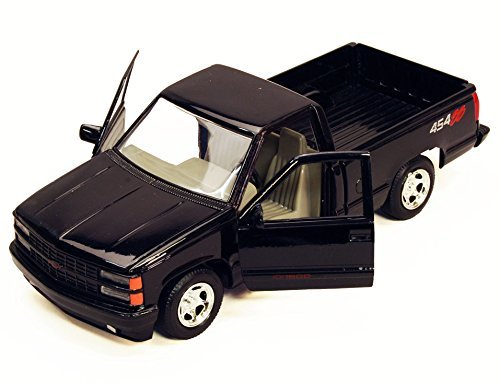 (Motormax 1992 Chevy 454SS Pickup Truck 1/24 Scale Diecast Model Car Black)