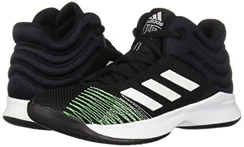 adidas Unisex Pro Spark 2018 Basketball Shoe, Black/White/Shock Lime, 4.5 M US Big Kid