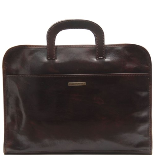 Tuscany Leather Sorrento - Document Leather briefcase Dark Brown
