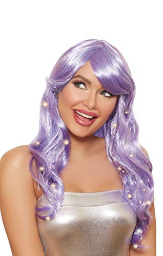 Dreamgirl Women's Long Wavy Light-Up Wig with Peach Lights, Lavender, One Size]()