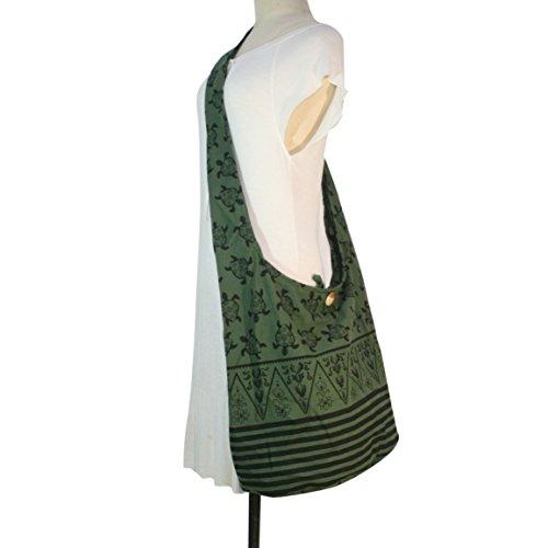 Purse Green Thai Hippie Turtle Shoulder Crossbody Bag Bohemian Large Sling Cotton Gypsy Hobo wBYfqSB