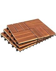 ESTEXO terrastegels kliktegels houten tegels 11x platen balkon tegels tuin 1m2 30x30 cm hout acacia mozaïek
