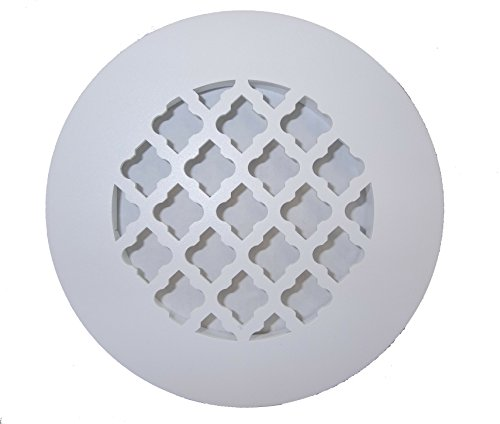 6 Inch Tuscan Design Round Floor Grille - No Damper (Silver) (Round Floor Register)