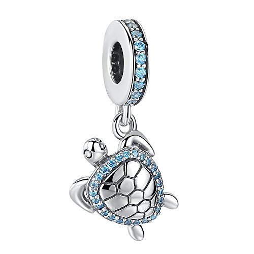 - ANGELFLY 925 Sterling Silver Blue Crystal Sea Turtle Pendant Charm Ocean Animal Charm fit Pandora Charms for Pandora Bracelets, Birthday for Women Wife Daughter