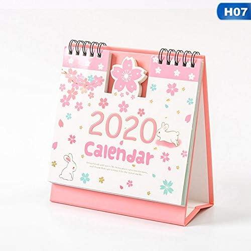 Tischkalender Kalendarien 2020 Netter Karikatur-Hamster-Kirschblüten-Coil Kalender tragbare Mini-Tischkalender Tägliche Terminplaner 2.019,09 bis 2.020,12 (Color : H07)