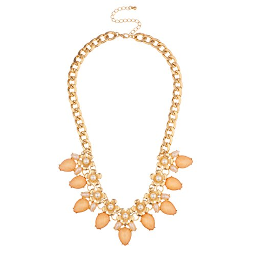 Lux Accessories Floral Peach imitation Pearl Flower Chain Link Statement Necklace (Floral Necklace Imitation Pearls)
