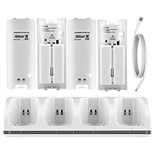 Wii Charging Station C9 Wii Remote Charger with 4PCS Wii Rechargeable Batteries and LED Light for Wii/ Wii U Remote Control-Dark White