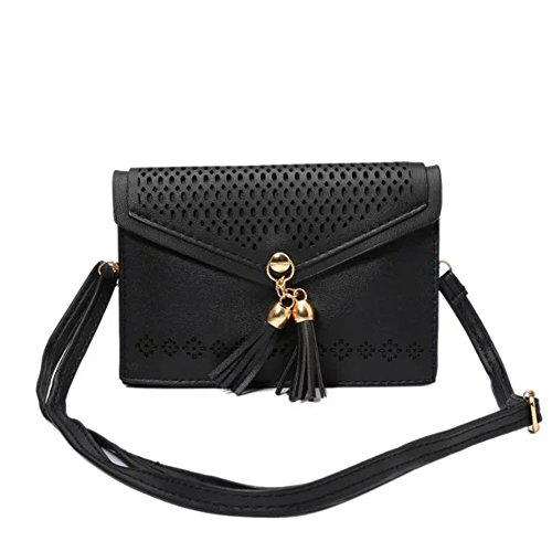 - Toniker Tassel Accent Small Crossbody Bag with Hollow Flower Case Universal Mini Cellphone Purse