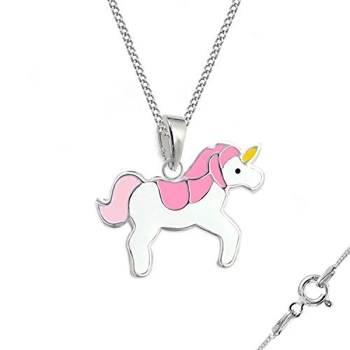 gh1a * Kids Color Rosa Unicornio Brisur Pendientes + colgante + cadena 925plata auténtica niña pendientes caballos Set