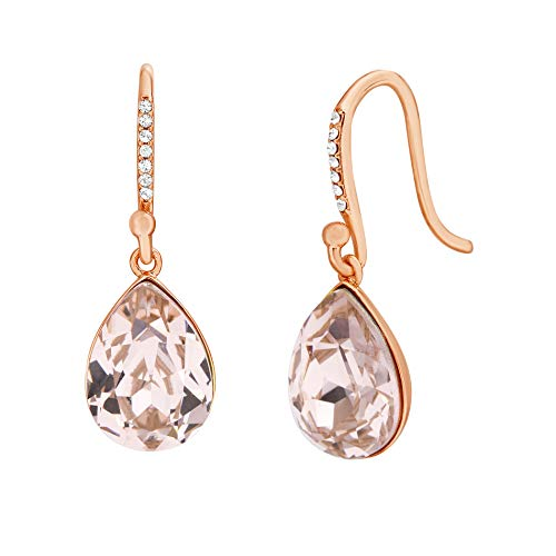 Devin Rose Teardrop Dangle French Wire Earrings for Women Made With Swarovski Crystal in Rose Gold 925 Sterling Silver (Colors Vintage Rose)