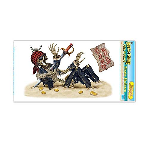 Bargain World Pirate Skeleton Peel N Place (2/Sheet) (with Sticky Notes)