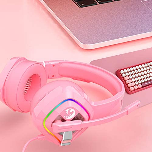 ZIUMIER Z66 Pink Gaming Headset for PS4, Xbox One, PC, Wired Over-Ear Headphone with Noise Isolation Microphone, LED RGB Light,Surround Sound