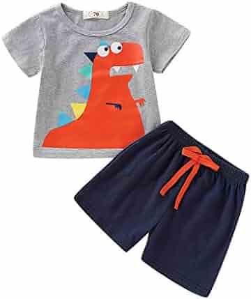 e6667dc9d Dinlong Newborn Infant Baby Boys Girls Short Sleeve Cartoon Dinosaur  Printed Tops T-Shirt+