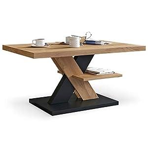 Viosimc Table Basse de Salon Chêne et Noir avec étagère, Table Centrale Blanche Moderne et élégante pour thé et Le café…